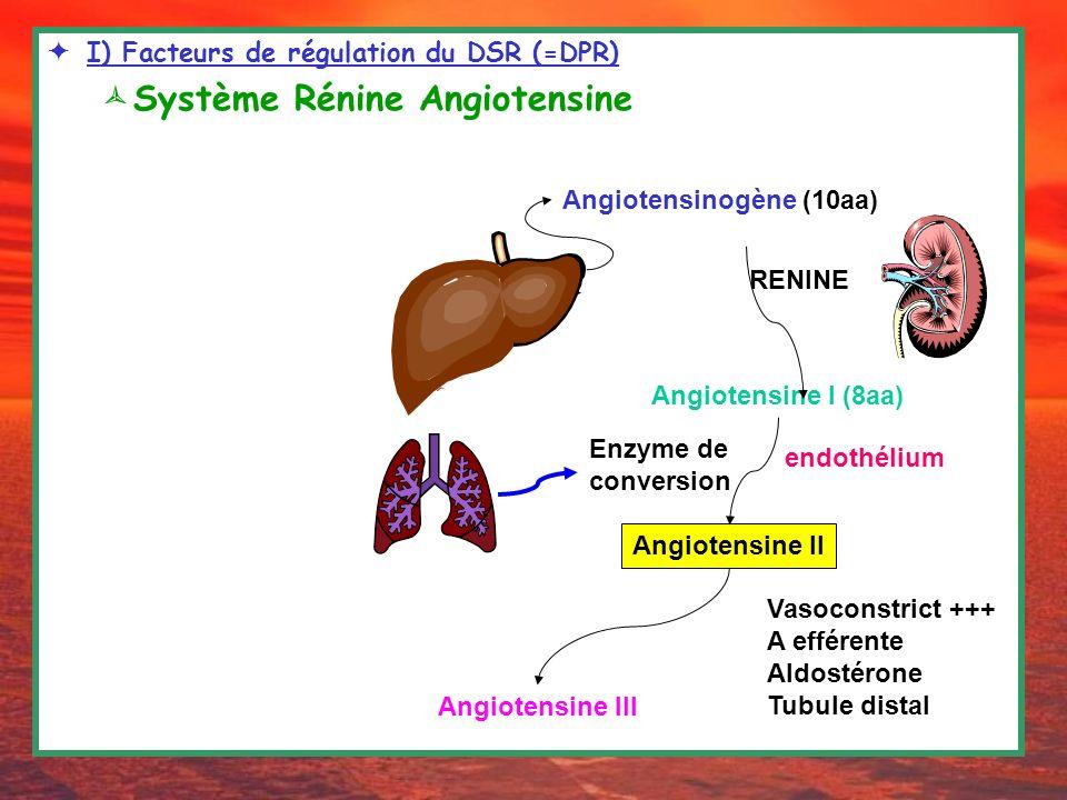 CHAPITRE 2: Filtration Glomérulaire et régulation vasculaire I) Facteurs de régulation du DSR (=DPR) Système Rénine Angiotensine RENINE Angiotensinogè