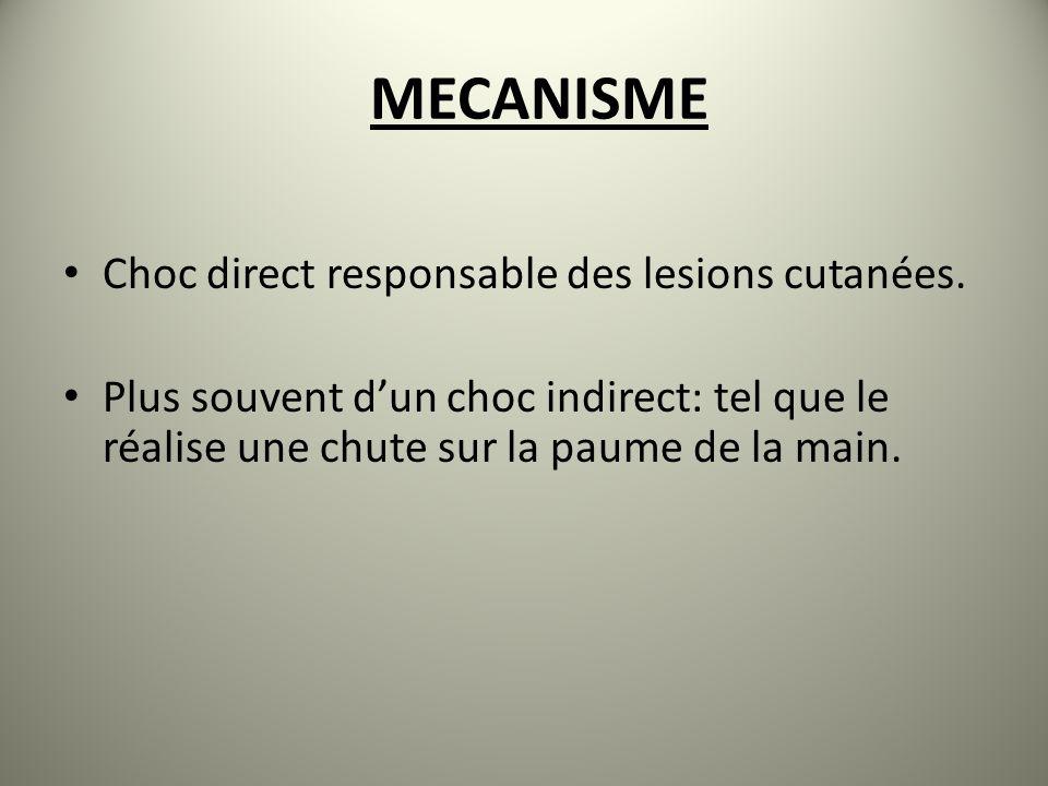 MECANISME Choc direct responsable des lesions cutanées.