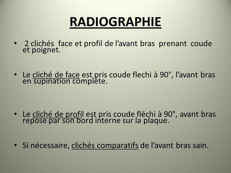 RADIOGRAPHIE 2 clichés face et profil de lavant bras prenant coude et poignet. Le cliché de face est pris coude flechi à 90°, lavant bras en supinatio