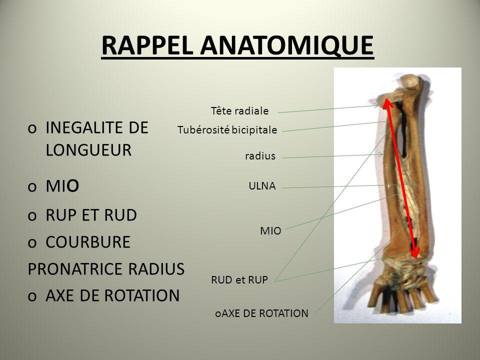 RAPPEL ANATOMIQUE oINEGALITE DE LONGUEUR oMI o oRUP ET RUD oCOURBURE PRONATRICE RADIUS oAXE DE ROTATION Tête radiale Tubérosité bicipitale radius MIO