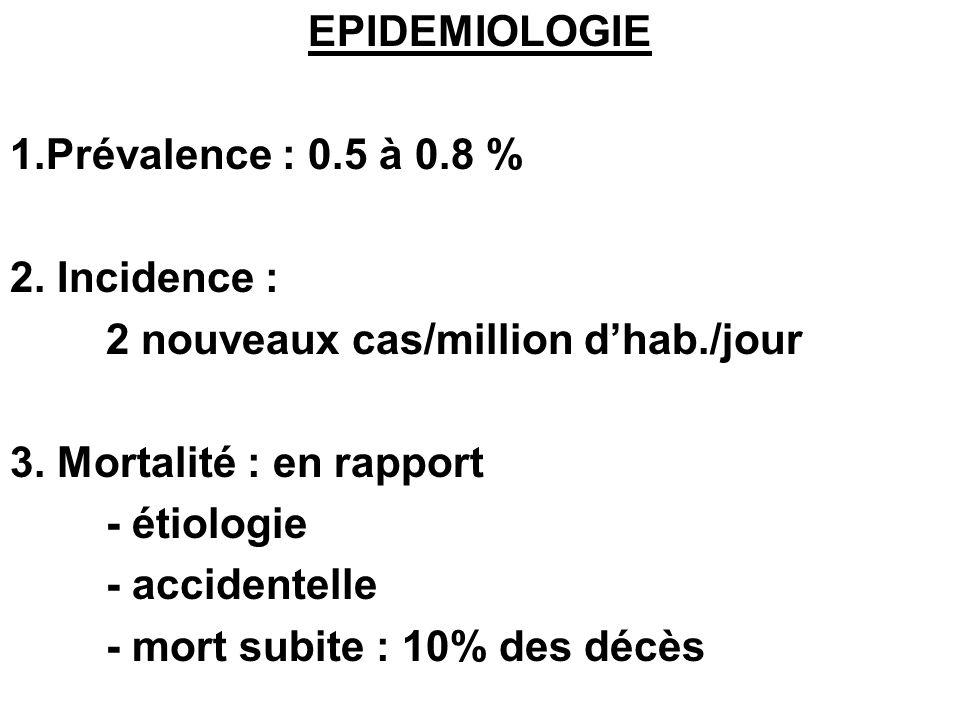 EPIDEMIOLOGIE 1.Prévalence : 0.5 à 0.8 % 2. Incidence : 2 nouveaux cas/million dhab./jour 3. Mortalité : en rapport - étiologie - accidentelle - mort