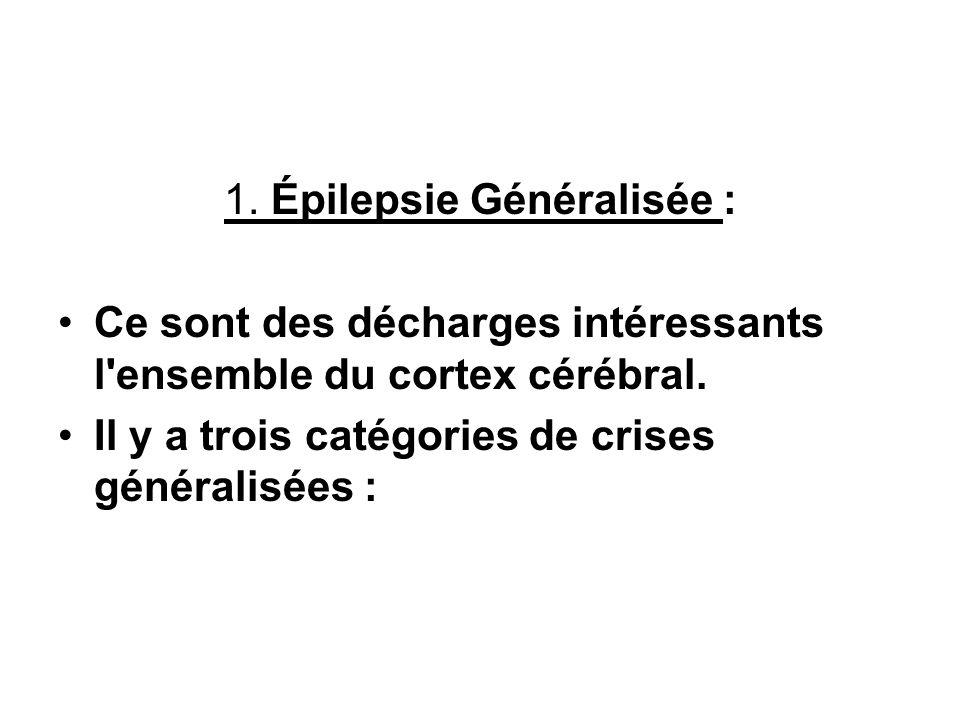 1. Épilepsie Généralisée : Ce sont des décharges intéressants l'ensemble du cortex cérébral. Il y a trois catégories de crises généralisées :