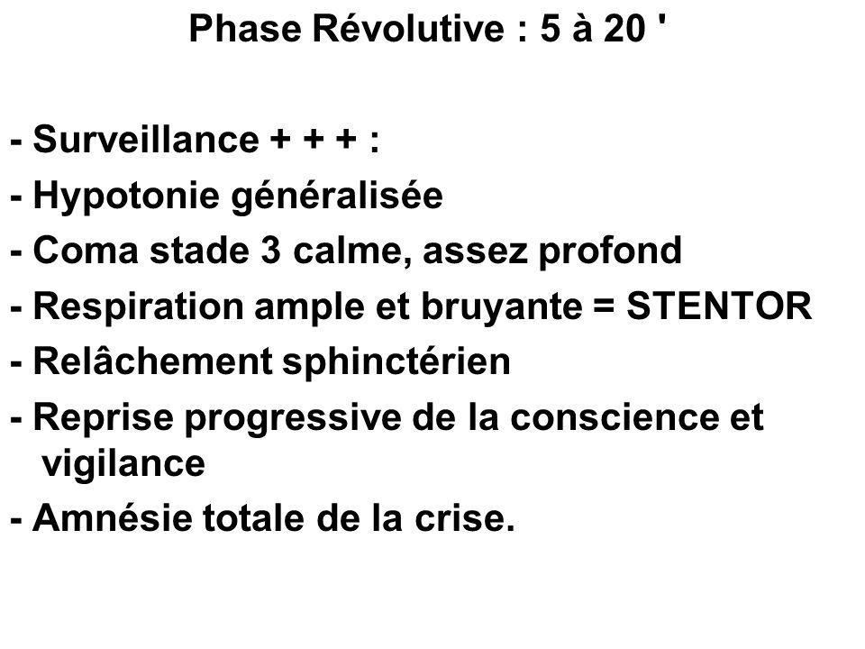 Phase Révolutive : 5 à 20 ' - Surveillance + + + : - Hypotonie généralisée - Coma stade 3 calme, assez profond - Respiration ample et bruyante = STENT