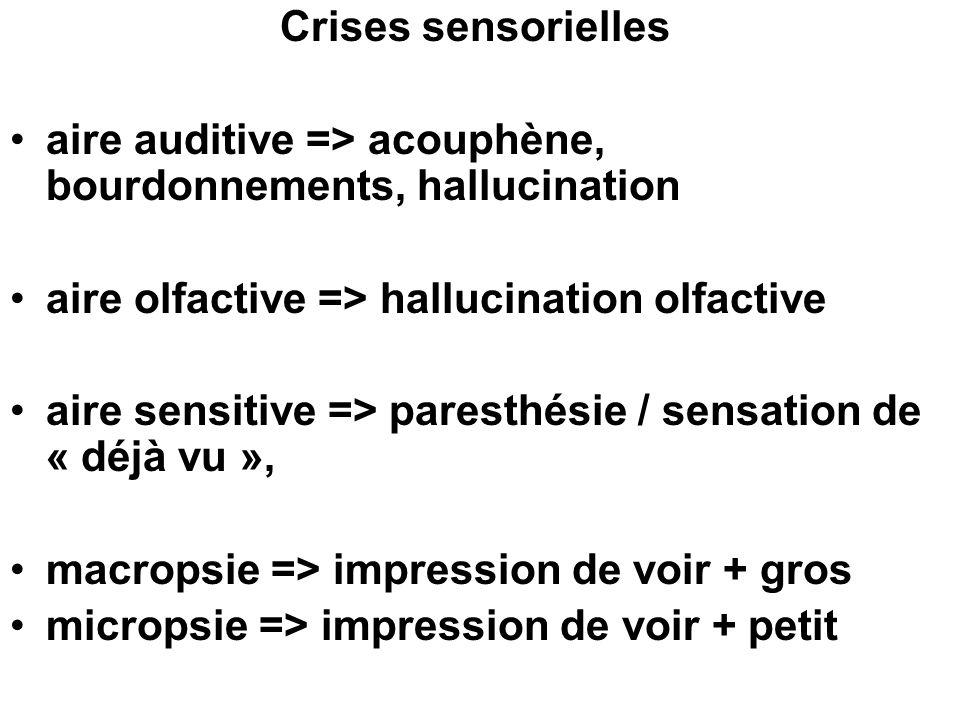 Crises sensorielles aire auditive => acouphène, bourdonnements, hallucination aire olfactive => hallucination olfactive aire sensitive => paresthésie