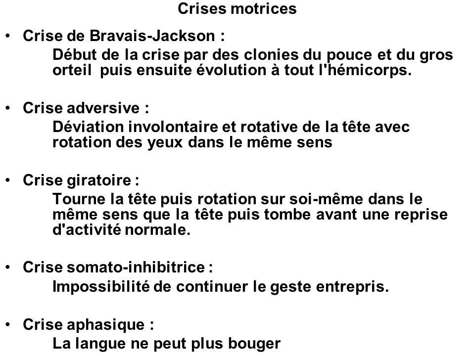 Crises motrices Crise de Bravais-Jackson : Début de la crise par des clonies du pouce et du gros orteil puis ensuite évolution à tout l'hémicorps. Cri
