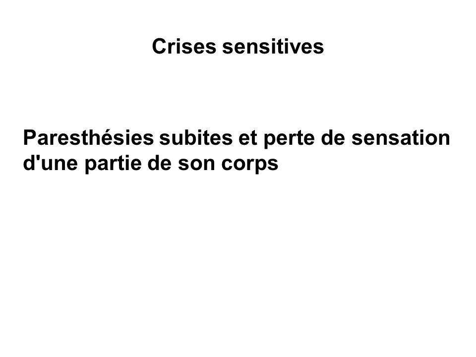 Crises sensitives Paresthésies subites et perte de sensation d'une partie de son corps
