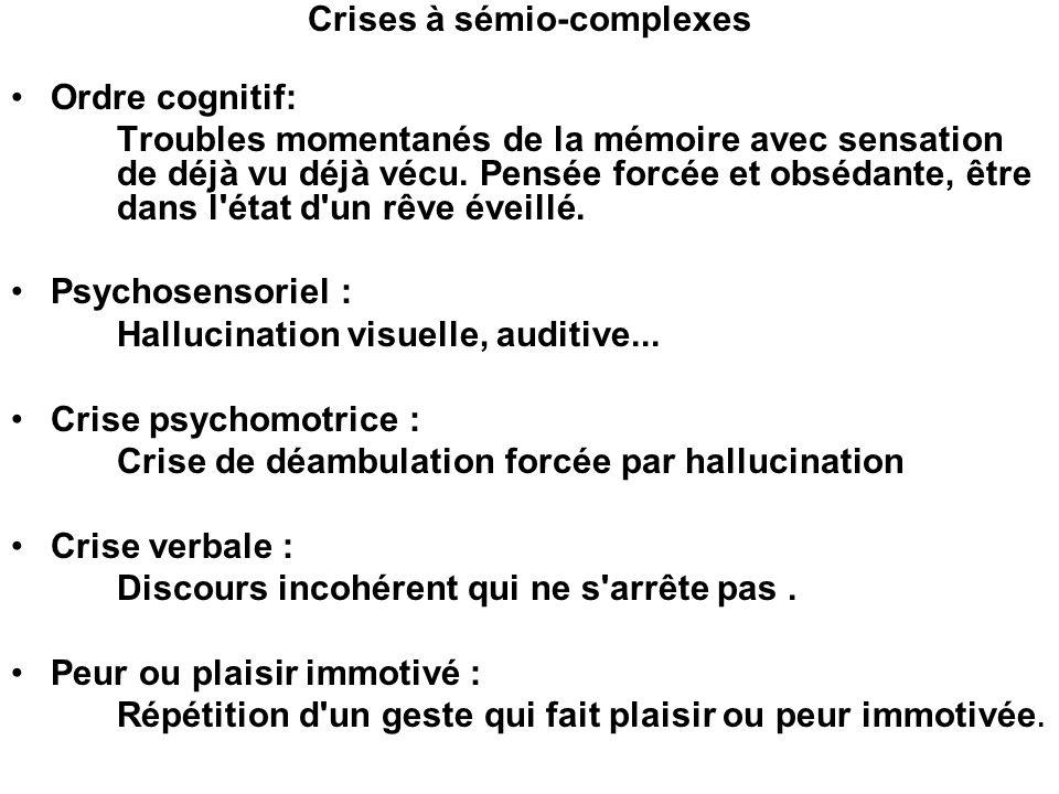 Crises à sémio-complexes Ordre cognitif: Troubles momentanés de la mémoire avec sensation de déjà vu déjà vécu. Pensée forcée et obsédante, être dans