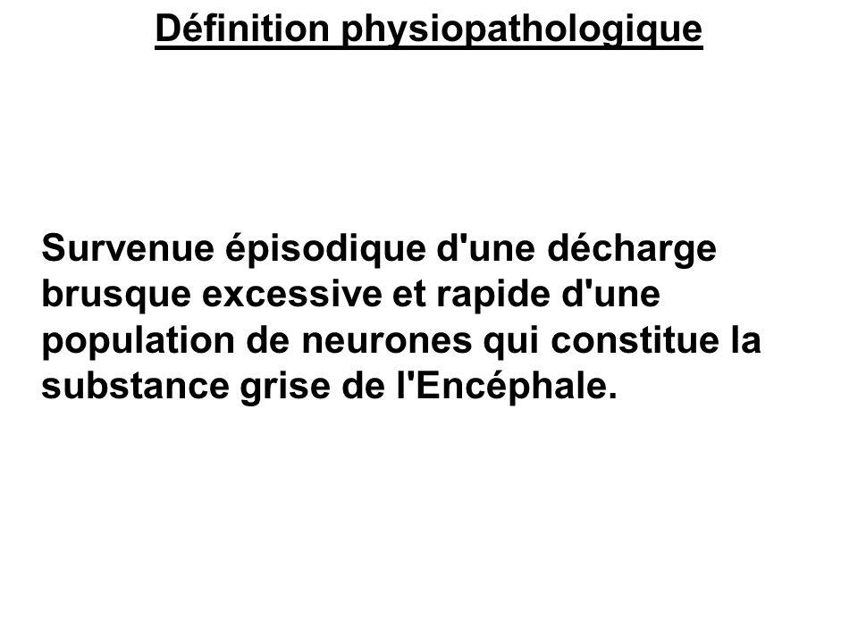 Définition physiopathologique Survenue épisodique d'une décharge brusque excessive et rapide d'une population de neurones qui constitue la substance g