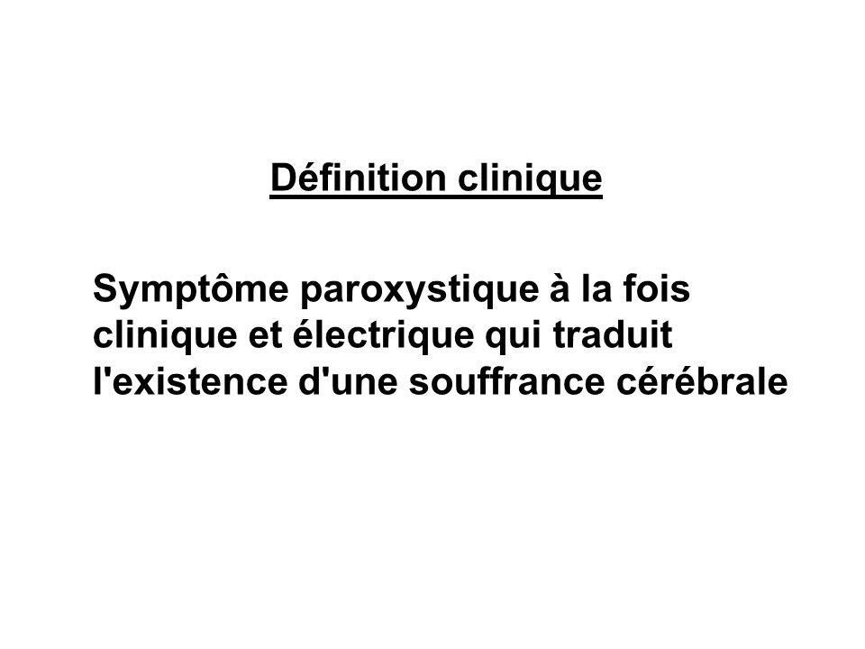 Définition clinique Symptôme paroxystique à la fois clinique et électrique qui traduit l'existence d'une souffrance cérébrale