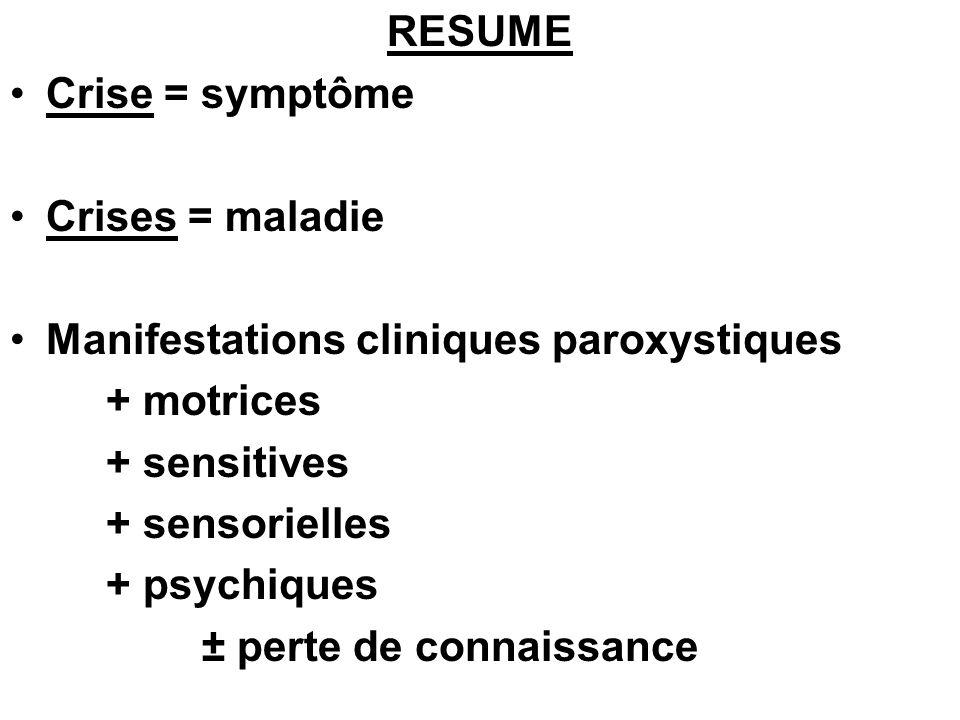 RESUME Crise = symptôme Crises = maladie Manifestations cliniques paroxystiques + motrices + sensitives + sensorielles + psychiques ± perte de connais