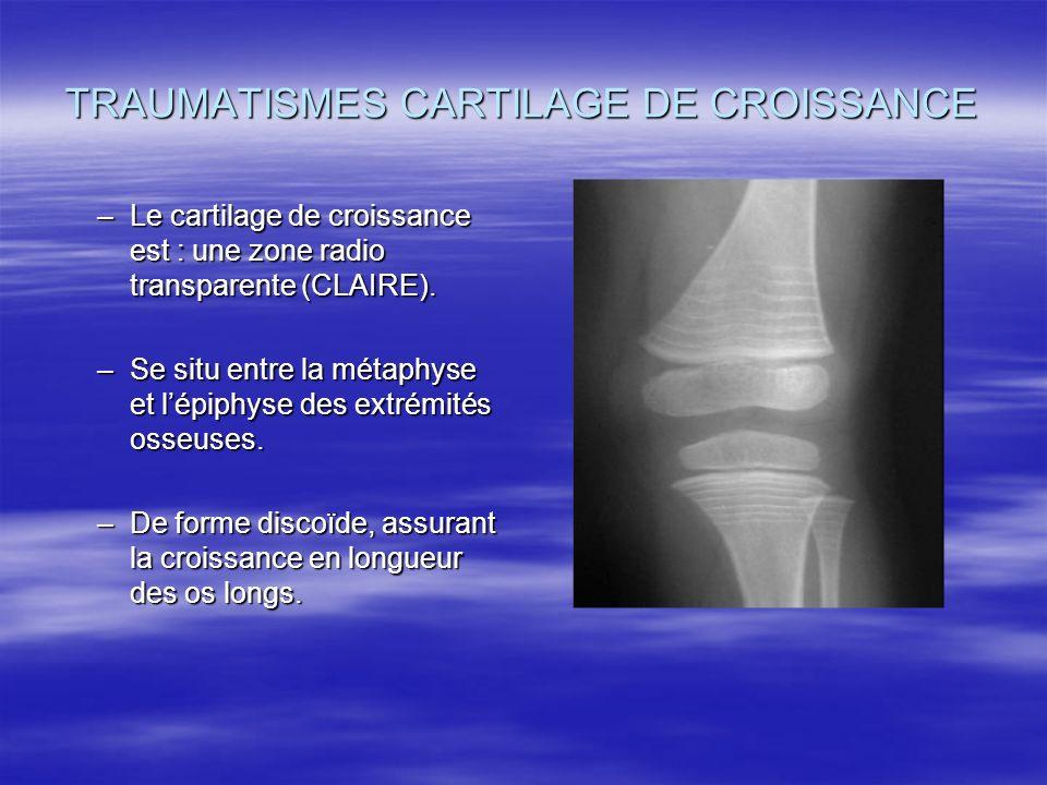 TRAUMATISMES CARTILAGE DE CROISSANCE –Le cartilage de croissance est : une zone radio transparente (CLAIRE). –Se situ entre la métaphyse et lépiphyse