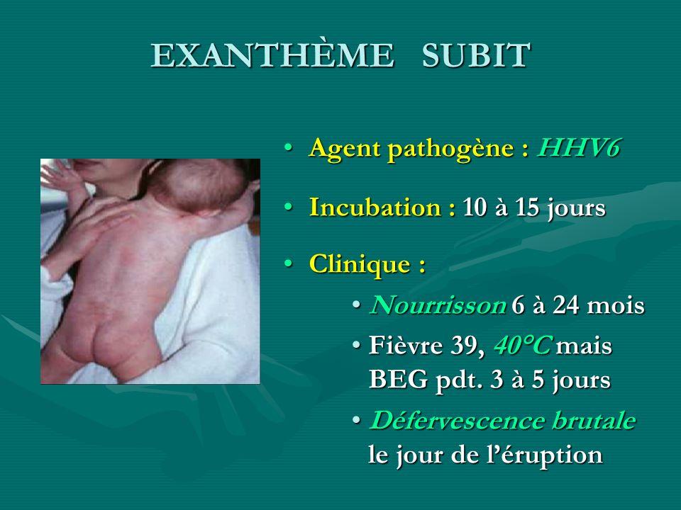 EXANTHÈME SUBIT Agent pathogène : HHV6 Incubation : 10 à 15 jours Clinique : Nourrisson 6 à 24 mois Fièvre 39, 40°C mais BEG pdt. 3 à 5 jours Déferves