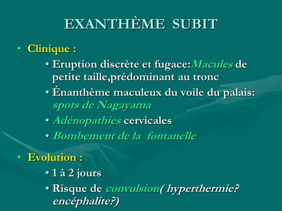 EXANTHÈME SUBIT Clinique :Clinique : Eruption discrète et fugace:Macules de petite taille,prédominant au troncEruption discrète et fugace:Macules de p