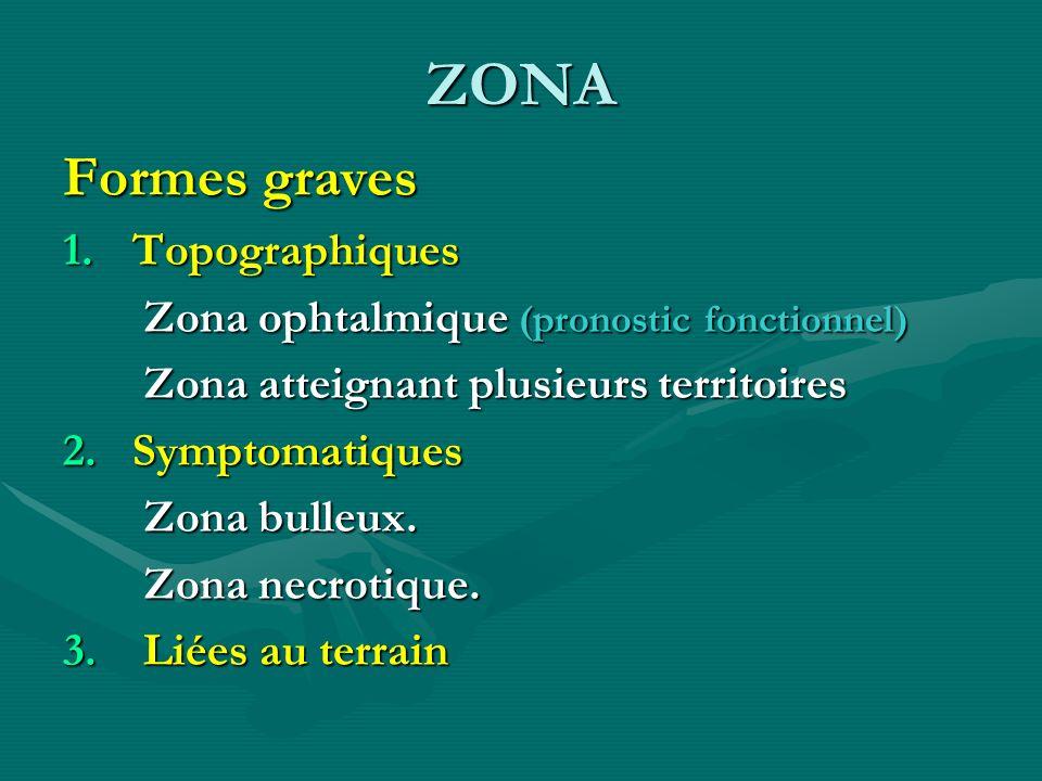 ZONA Formes graves 1.Topographiques Zona ophtalmique (pronostic fonctionnel) Zona ophtalmique (pronostic fonctionnel) Zona atteignant plusieurs territ
