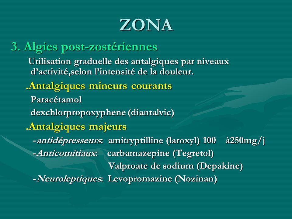ZONA 3. Algies post-zostériennes Utilisation graduelle des antalgiques par niveaux dactivité,selon lintensité de la douleur. Utilisation graduelle des