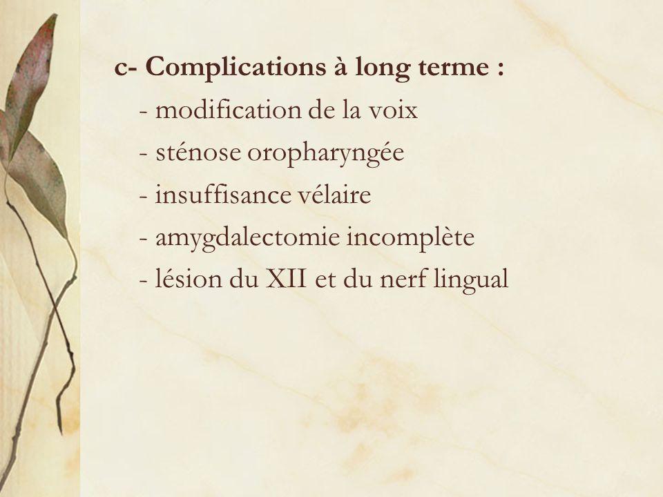 c- Complications à long terme : - modification de la voix - sténose oropharyngée - insuffisance vélaire - amygdalectomie incomplète - lésion du XII et