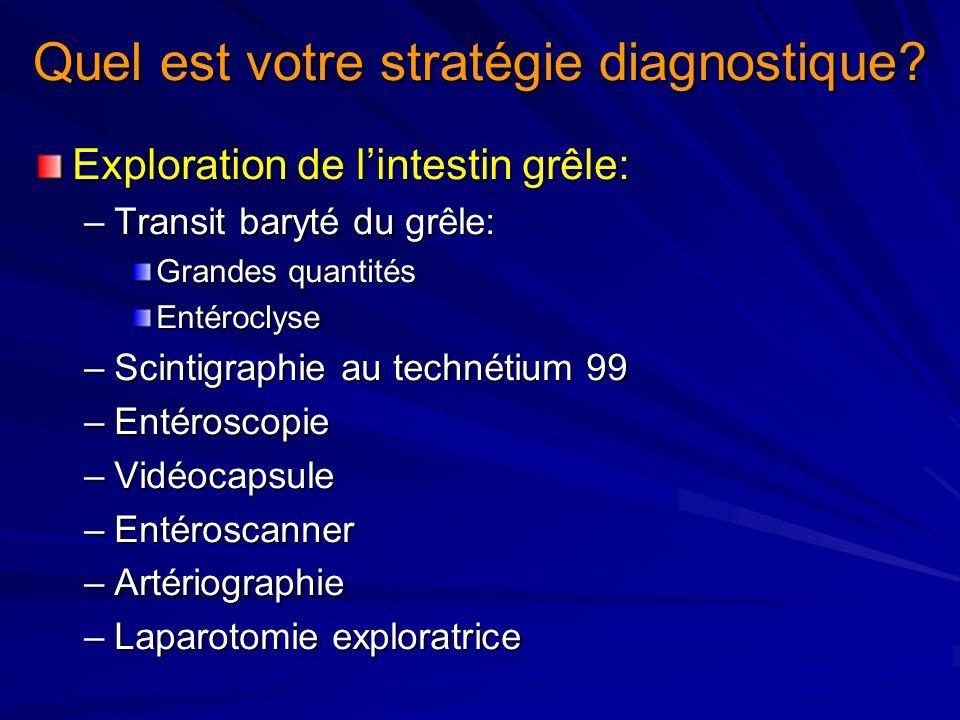 Exploration de lintestin grêle: –Transit baryté du grêle: Grandes quantités Entéroclyse –Scintigraphie au technétium 99 –Entéroscopie –Vidéocapsule –E