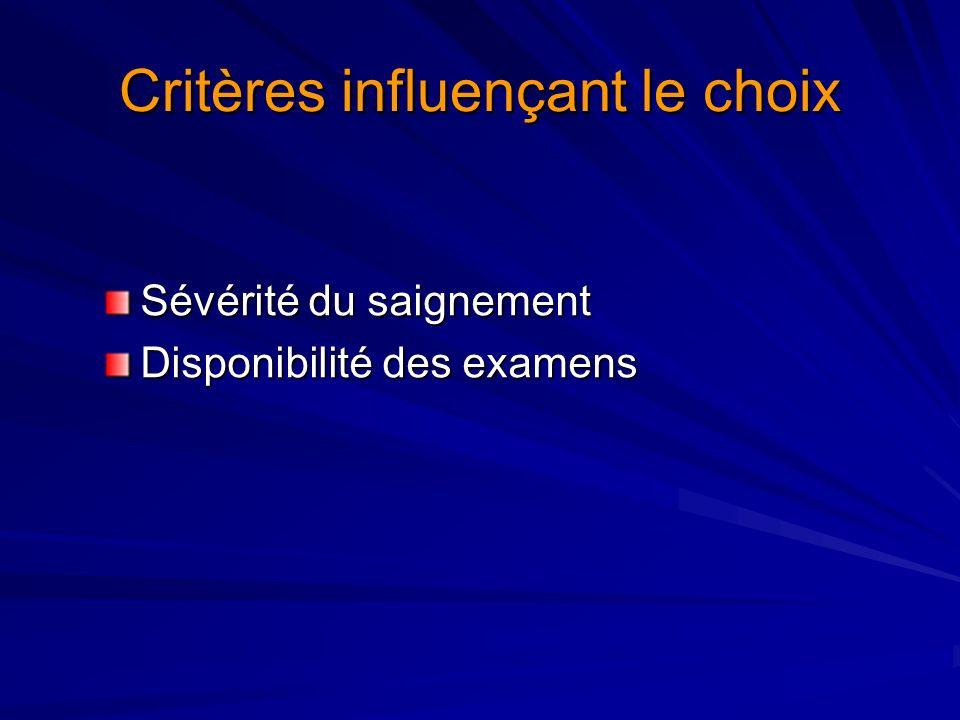 Critères influençant le choix Sévérité du saignement Disponibilité des examens