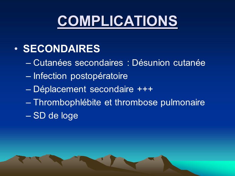 COMPLICATIONS SECONDAIRES –Cutanées secondaires : Désunion cutanée –Infection postopératoire –Déplacement secondaire +++ –Thrombophlébite et thrombose