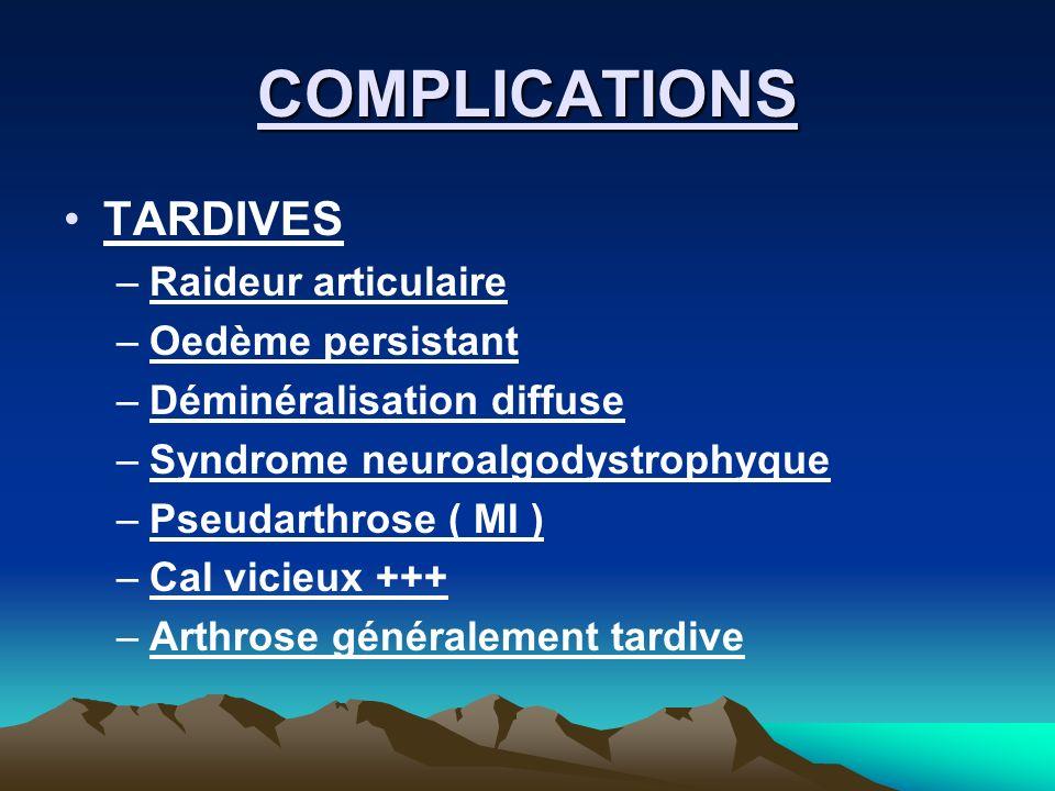 COMPLICATIONS TARDIVES –Raideur articulaire –Oedème persistant –Déminéralisation diffuse –Syndrome neuroalgodystrophyque –Pseudarthrose ( MI ) –Cal vi
