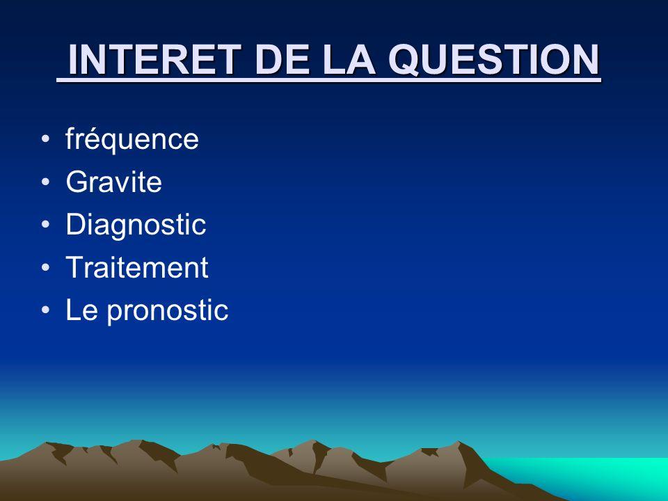 INTERET DE LA QUESTION INTERET DE LA QUESTION fréquence Gravite Diagnostic Traitement Le pronostic