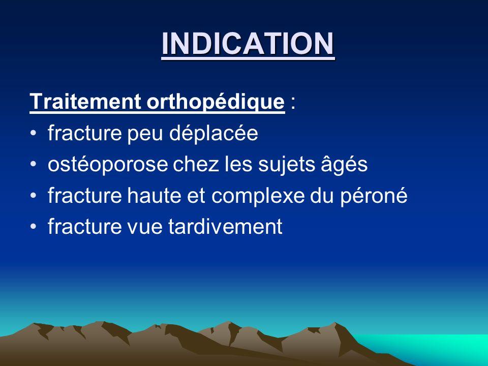 INDICATION INDICATION Traitement orthopédique : fracture peu déplacée ostéoporose chez les sujets âgés fracture haute et complexe du péroné fracture v