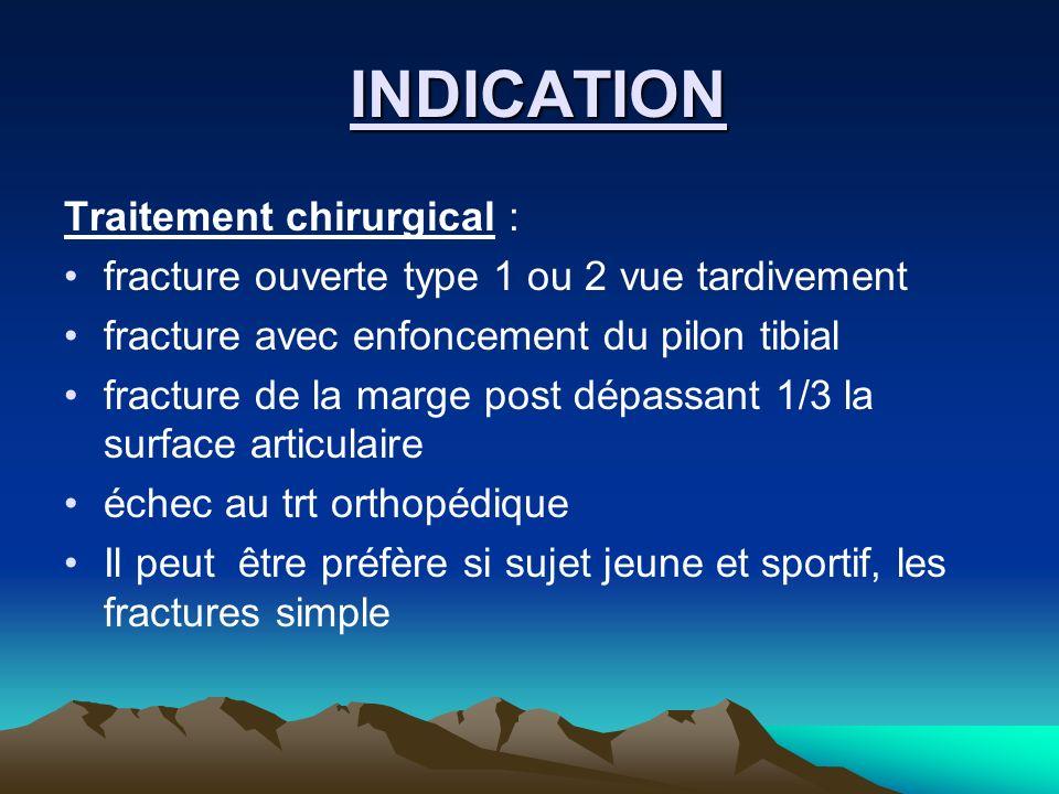 INDICATION INDICATION Traitement chirurgical : fracture ouverte type 1 ou 2 vue tardivement fracture avec enfoncement du pilon tibial fracture de la m