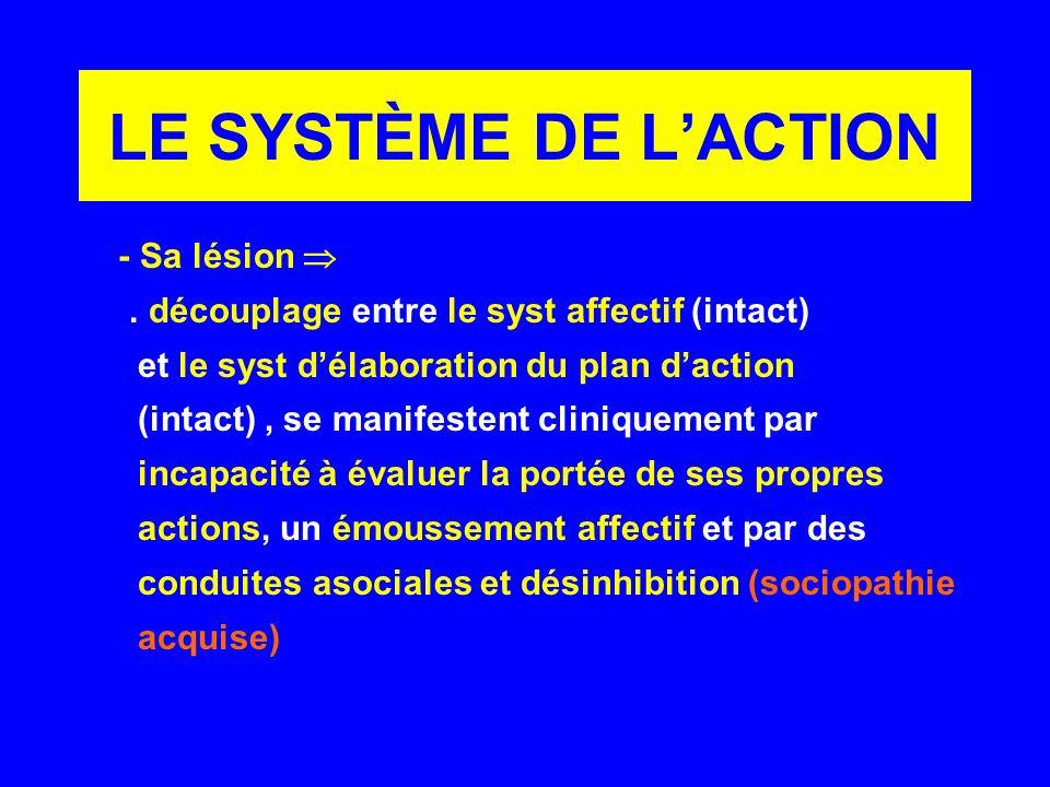 LE SYSTÈME DE LACTION - Sa lésion. découplage entre le syst affectif (intact) et le syst délaboration du plan daction (intact), se manifestent cliniqu