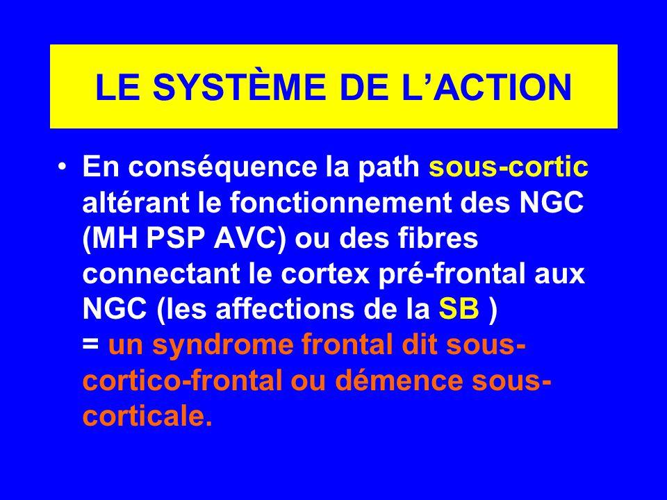LE SYSTÈME DE LACTION En conséquence la path sous-cortic altérant le fonctionnement des NGC (MH PSP AVC) ou des fibres connectant le cortex pré-fronta