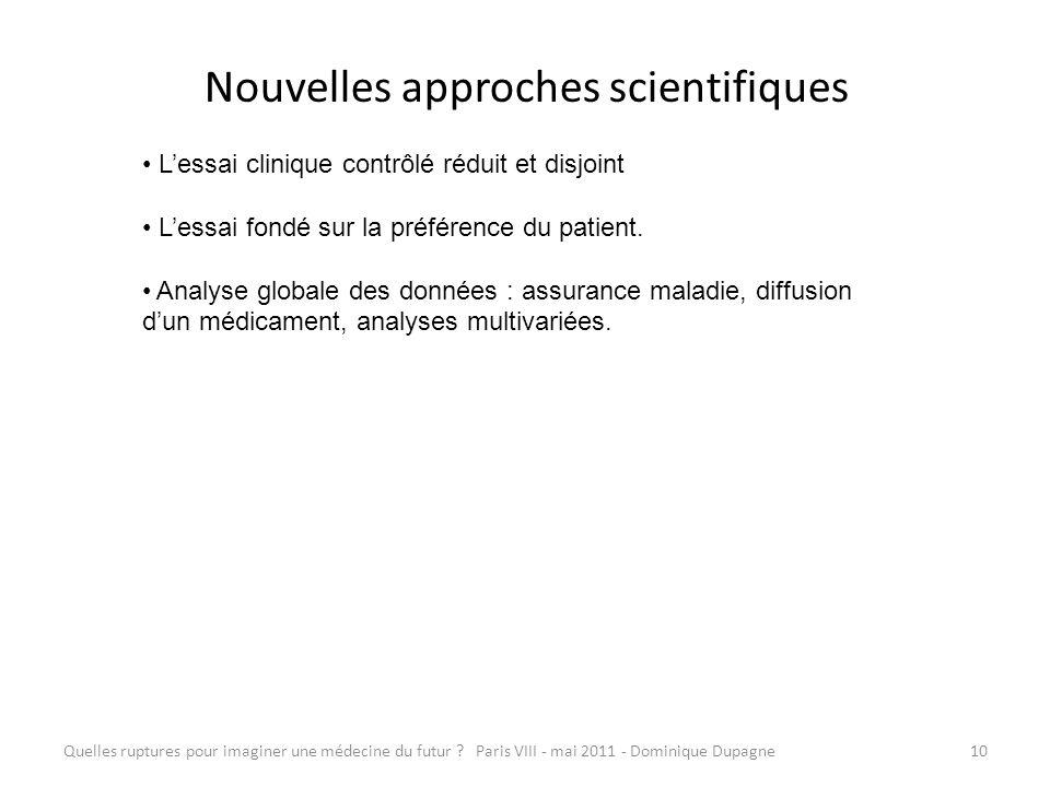 Quelles ruptures pour imaginer une médecine du futur ? Paris VIII - mai 2011 - Dominique Dupagne10 Nouvelles approches scientifiques Lessai clinique c