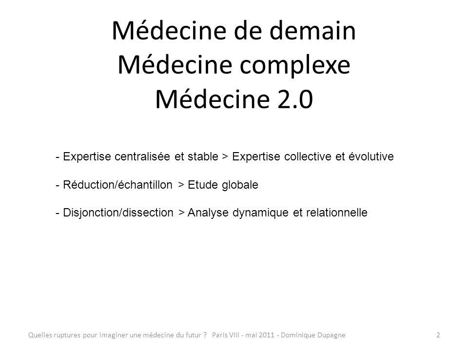 Quelles ruptures pour imaginer une médecine du futur ? Paris VIII - mai 2011 - Dominique Dupagne2 Médecine de demain Médecine complexe Médecine 2.0 -