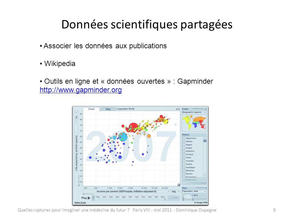 Quelles ruptures pour imaginer une médecine du futur ? Paris VIII - mai 2011 - Dominique Dupagne9 Données scientifiques partagées Associer les données
