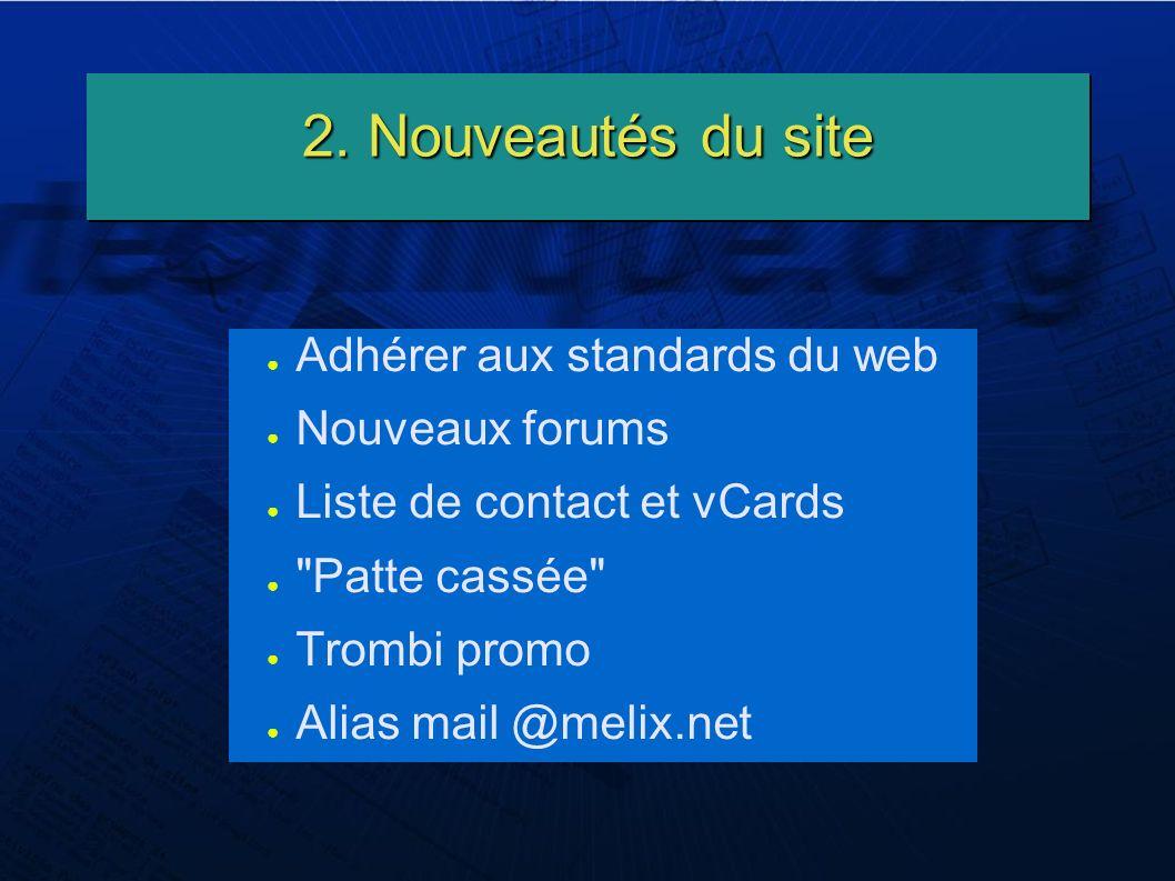 2. Nouveautés du site Adhérer aux standards du web Nouveaux forums Liste de contact et vCards