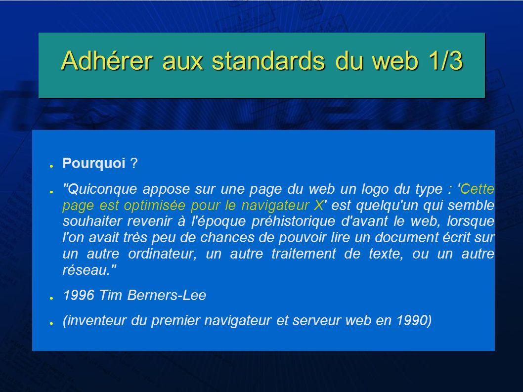 Adhérer aux standards du web 1/3 Pourquoi .