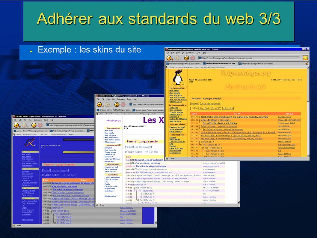 Adhérer aux standards du web 3/3 Exemple : les skins du site