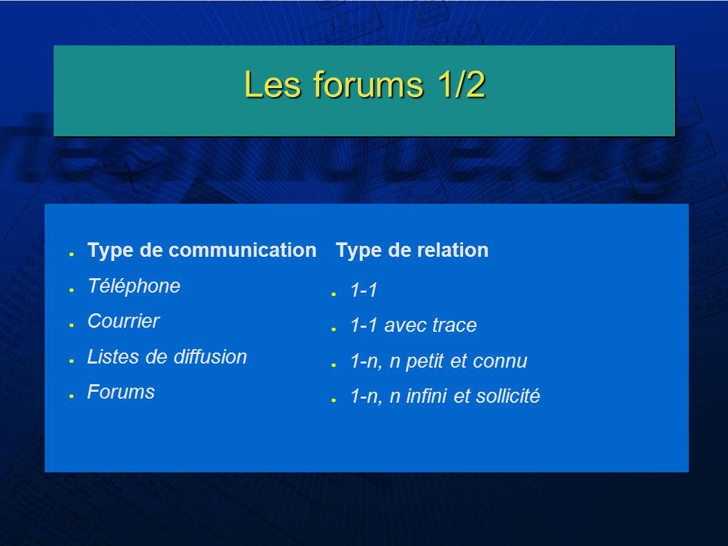 Les forums 1/2 Type de communication Type de relation Téléphone Courrier Listes de diffusion Forums 1-1 1-1 avec trace 1-n, n petit et connu 1-n, n infini et sollicité