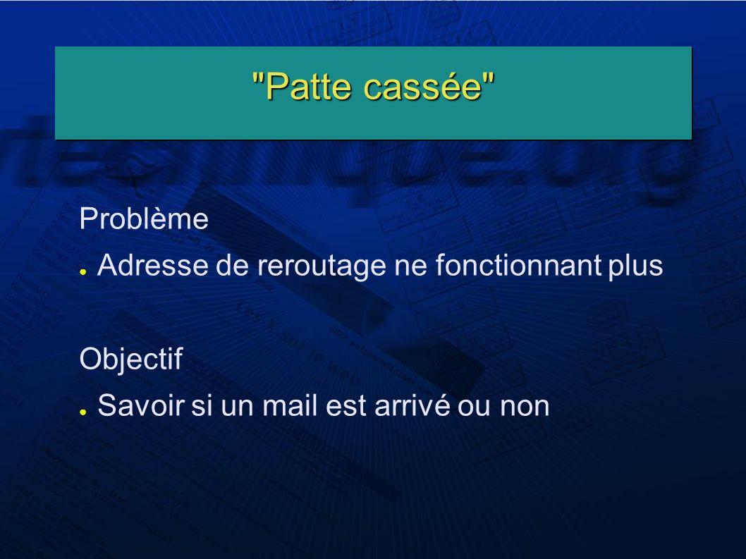 Patte cassée Problème Adresse de reroutage ne fonctionnant plus Objectif Savoir si un mail est arrivé ou non