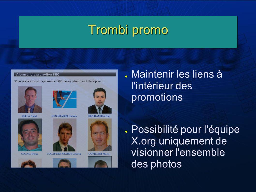 Trombi promo Maintenir les liens à l intérieur des promotions Possibilité pour l équipe X.org uniquement de visionner l ensemble des photos
