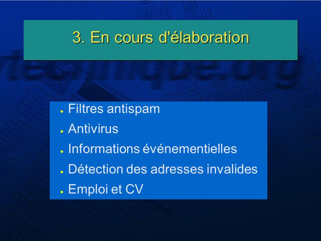 3. En cours d'élaboration Filtres antispam Antivirus Informations événementielles Détection des adresses invalides Emploi et CV