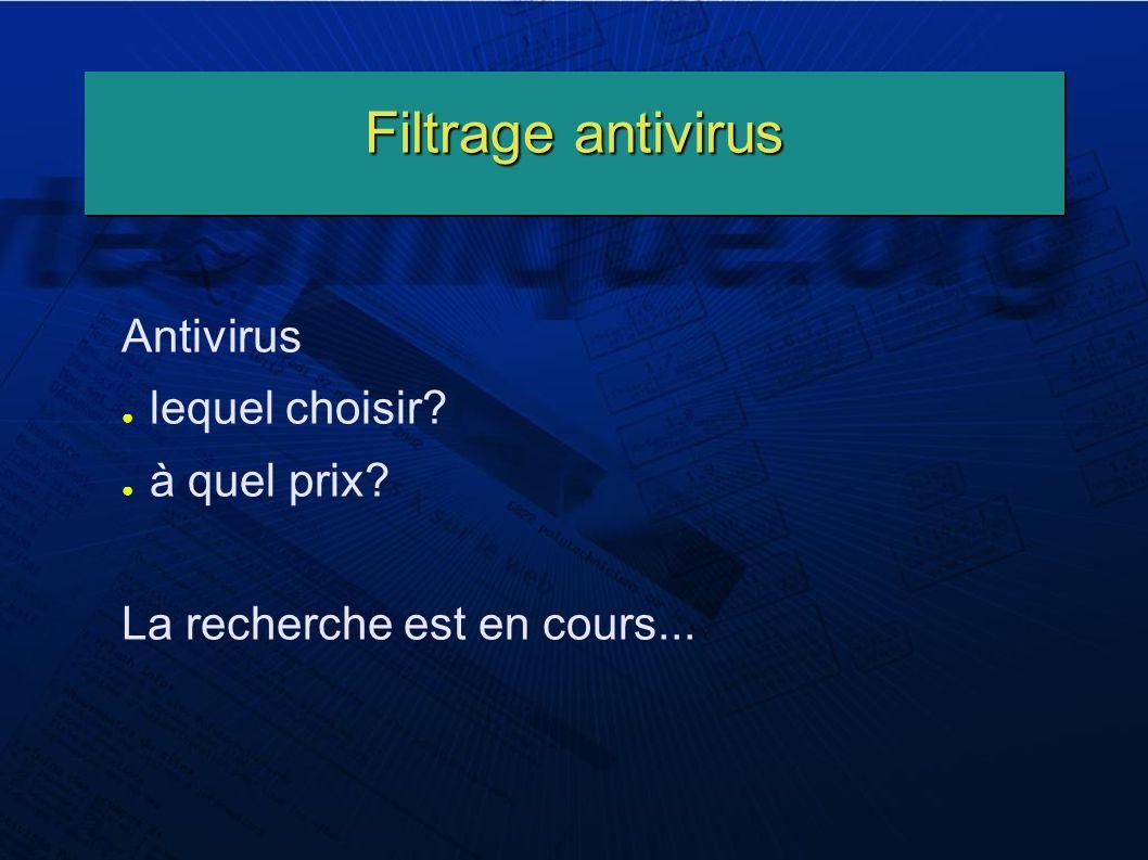 Filtrage antivirus Antivirus lequel choisir? à quel prix? La recherche est en cours...
