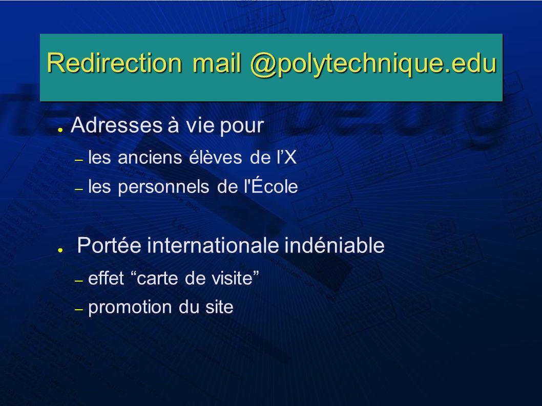 Redirection mail @polytechnique.edu Adresses à vie pour – les anciens élèves de lX – les personnels de l École Portée internationale indéniable – effet carte de visite – promotion du site