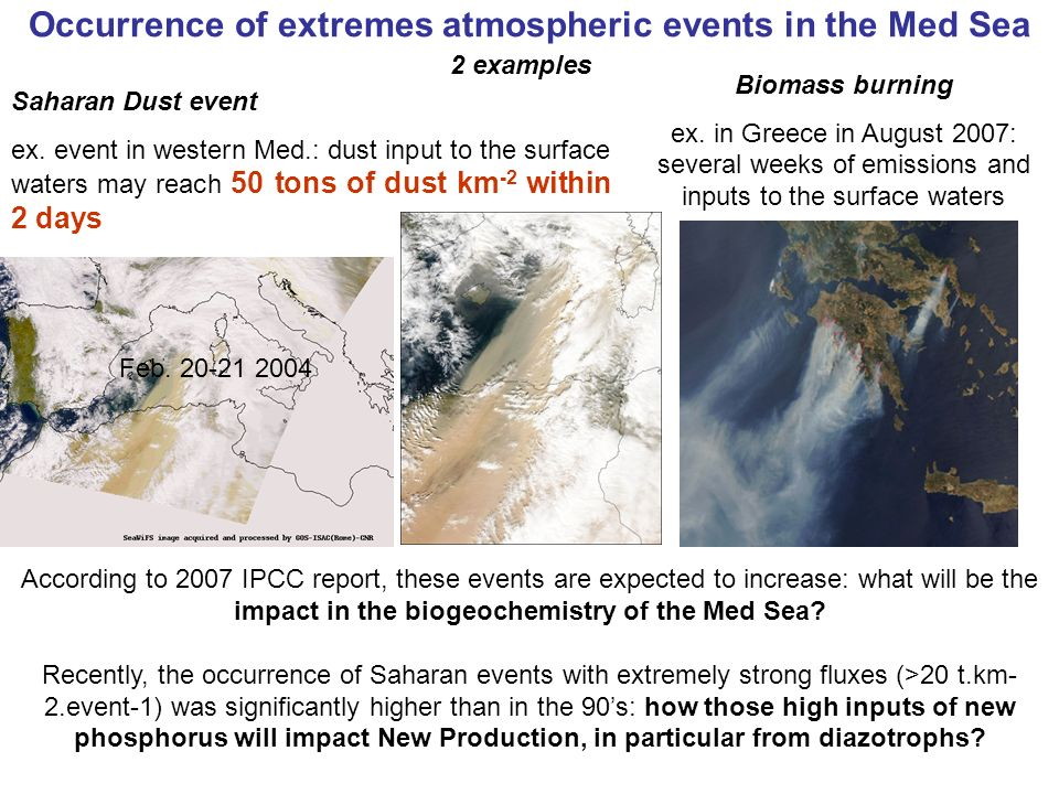 Occurrence of extremes atmospheric events in the Med Sea Biomass burning ex. in Greece in August 2007: several weeks of emissions and inputs to the su