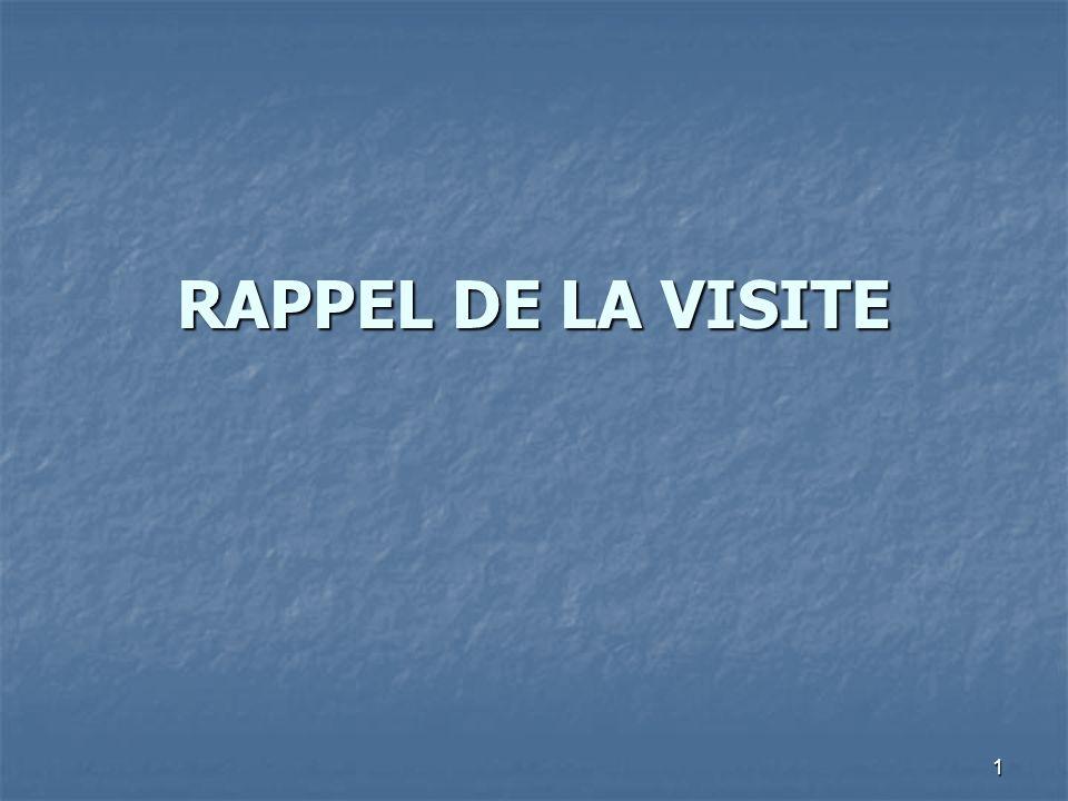 1 RAPPEL DE LA VISITE