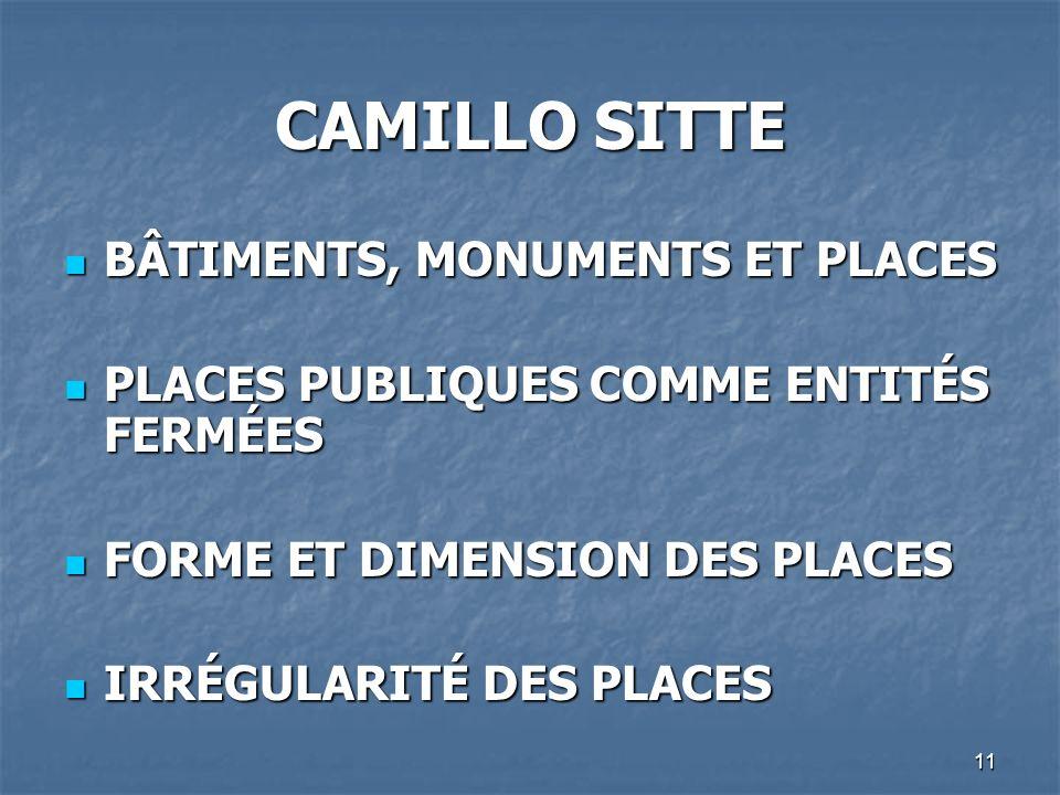 11 CAMILLO SITTE BÂTIMENTS, MONUMENTS ET PLACES BÂTIMENTS, MONUMENTS ET PLACES PLACES PUBLIQUES COMME ENTITÉS FERMÉES PLACES PUBLIQUES COMME ENTITÉS F