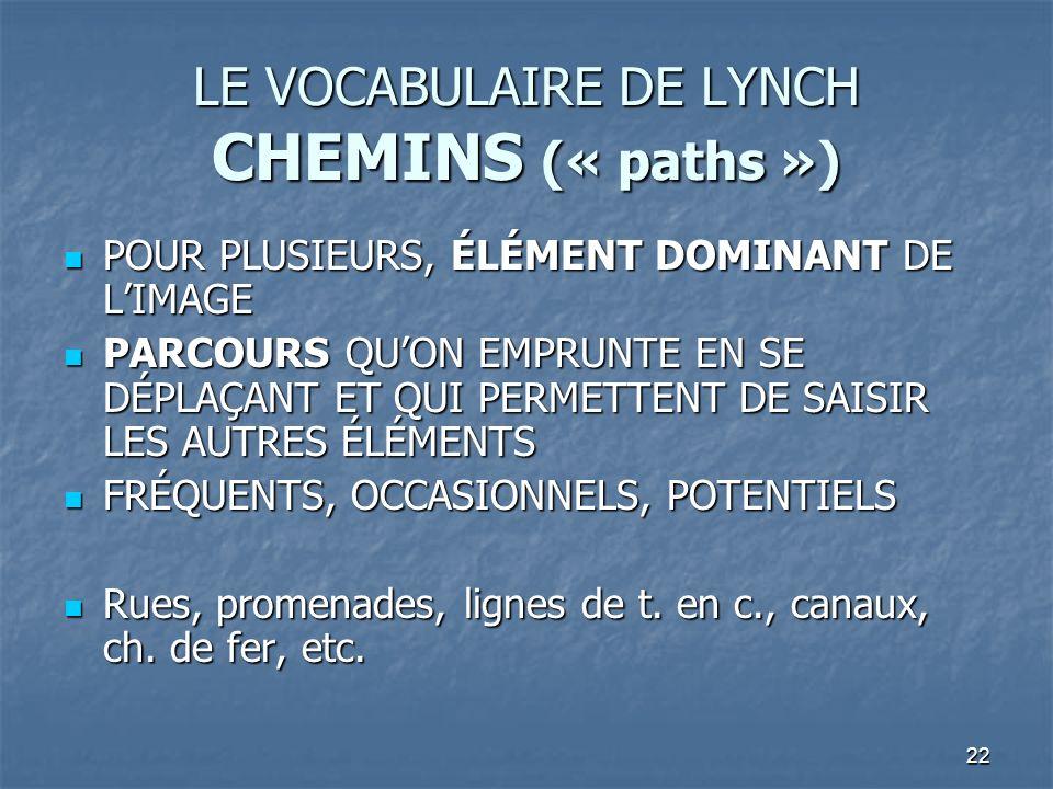 22 LE VOCABULAIRE DE LYNCH CHEMINS (« paths ») POUR PLUSIEURS, ÉLÉMENT DOMINANT DE LIMAGE POUR PLUSIEURS, ÉLÉMENT DOMINANT DE LIMAGE PARCOURS QUON EMP