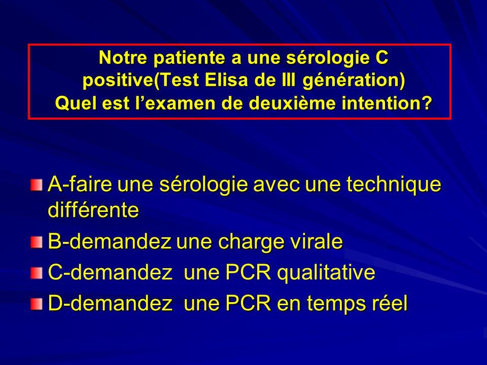 Notre patiente a une sérologie C positive(Test Elisa de III génération) Quel est lexamen de deuxième intention? A-faire une sérologie avec une techniq