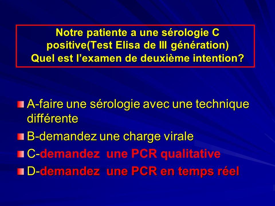 A-faire une sérologie avec une technique différente B-demandez une charge virale C-demandez une PCR qualitative D-demandez une PCR en temps réel Notre