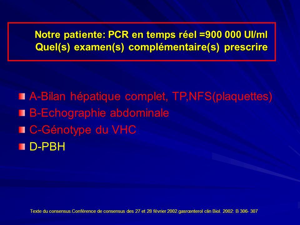 Notre patiente: PCR en temps réel =900 000 UI/ml Quel(s) examen(s) complémentaire(s) prescrire Notre patiente: PCR en temps réel =900 000 UI/ml Quel(s