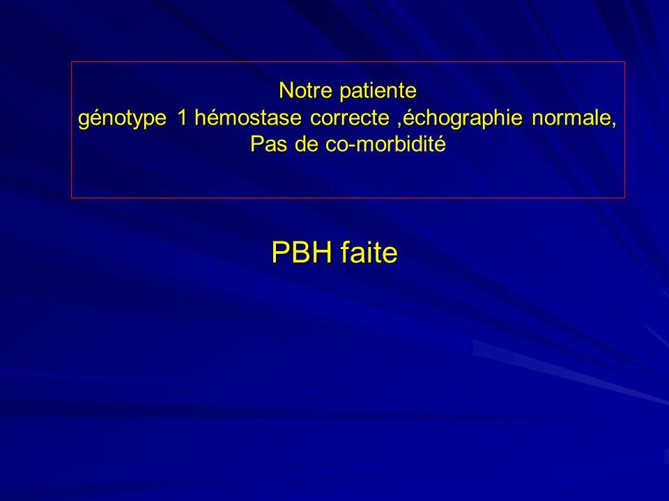 PBH faite PBH faite Notre patiente génotype 1 hémostase correcte,échographie normale, Pas de Pas de co-morbidité