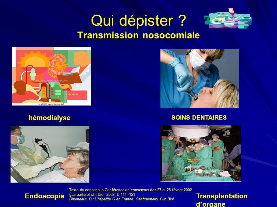 Transmission nosocomiale Qui dépister ? Transmission nosocomiale Endoscopie SOINS DENTAIRES hémodialyse Transplantation dorgane Texte du consensus.Con